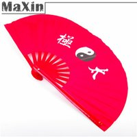 Wholesale Chinese Kung Fu Red Bamboo Tai Chi Fan Martial Arts Dance Practice Performance Supplies Appliance