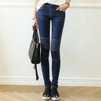 high waist jeans - Plus Size Fashion New High Waist Straight Woman Jeans Slim Skinny Pants
