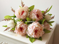artificial flower bunch - heads bunch New Silk Simulation Artificial flower Peony flower bouquet