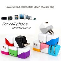 Wholesale Universal Colorful Fold Down Charger Plug EU US Plug USB Home AC Power Adapter Wall Charger Charging For iPhone S Plus iPad Air Samsung