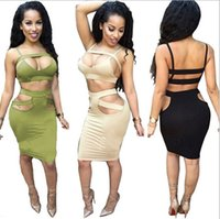 Wholesale 2016 women sexy busty celebrity bandage hollow out dress two piece outfits set backless strap cutout knee length party dress SJ0051