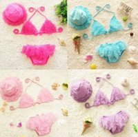 baby swim shirts - 2015 NEW ARRIVAL baby girl kids Korean Swimming suits Bikini sets ruffles lace tulle tops shirt vest pants bloomers shorts hat cap sets