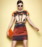 Wholesale African Style Giraffe Shadow Leopard Print Dress Summer Women Africa Clothing Vestidos Casual Roupas Femininas