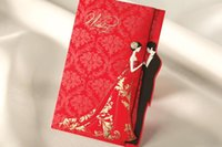 Wholesale 50pcs Romantic Flower Printing Wedding Invitations Red Laser Cut Card Invitation with Envelope