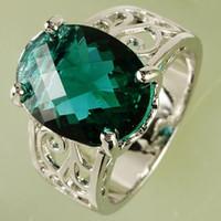 gemstone rings - AR27 mm CT Oval Cut Green Topaz Gemstone Ring Silver Rings Size Crystal Wedding Ring A0029