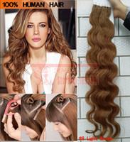 Bande de trame de peau dans les extensions de cheveux humains pour votre esthétique Nice Hair Discount # 8 brun clair brésilien corps Wave Beauty Hair Products 10-30inch Long