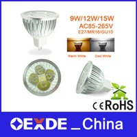 Wholesale LED lights Cup AC110 V dimmable E27 B22 GU10 GU5 W12W15W cool white is white warm white LED spotlight bulb