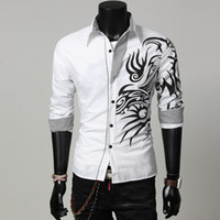 Wholesale 2015 new arrive Chinese style dragon mens shirts Printing slim men s shirts long sleeve Color white purple red black
