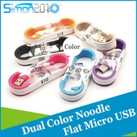 Wholesale Colorful M ft micro USB cable noodle flat USB2 V8 Data Sync Charging cord with insert For Samsung S7 S6 LG HTC