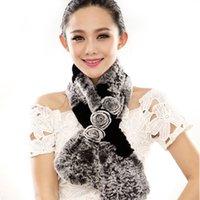 fur flower scarf - Multicolor Ursfur Real Rex Rabbit Fur Collar Women Winter Warm Scarf Wraps with Rosette Flower Lovely Girl Female Skull Scarves Shawl