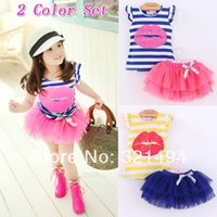 Wholesale Baby Girls dress Children clothing Sets Short sleeve Skirt Suit Red lip baby Clothing sets princess skirt girls clothes