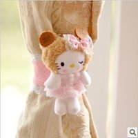 Wholesale Kawaii Plush Biscuit Hello Kitty Curtain Buckle Curtain Ring Tieback Clamp Clip Hook Retail KCS
