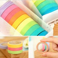 Wholesale 10 colors Rainbow Sticky Paper Masking Adhesive Decorative Tape Scrapbooking DIY for School