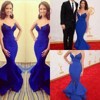 Wholesale 2015 Rocsi Diaz Emmy Awards Royal Blue Mermaid Celebrity Dresses Sleeveless Evening Dresses High Split Custom Prom Dresses Sexy Party Gowns