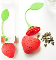 Wholesale 50pcs Silicone Strawberry Design Loose Tea Leaf Strainer Herbal Spice Infuser Filter Tools