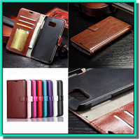 Wholesale PU Leather case Retro Wallet Phone Case With Card Slots Filp Stand Photo Frame For Samsung s6 iphone case with DHL free