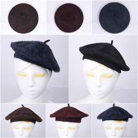 Wholesale 2015 Women Pure Color Beret Hats Gentle Soft Rabbit Fur Caps Casual Style Colors Choose DIR
