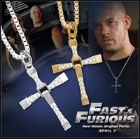 american diamond pendant - Alloy diamond FAST and FURIOUS Dominic Toretto Cross Pendant silver plated Necklace fashion party gift DHL free MOQ SVS0035