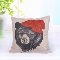 animal hospital - 45cm cm inch Hand Painted Animal Head Pillow Cover Bear Head Pillow Case Europe Style Breathable Linen Pillowcase