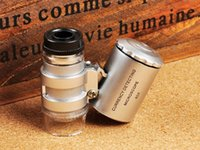 Wholesale Mini Microscope Pocket x Magnifier Handheld Jeweler LED Lamp Light Loupe Currency Detector Loupe