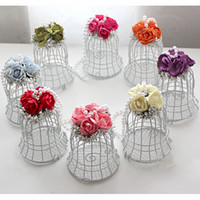 Favor Boxes bell shaped flowers - 2016 New Wedding Favor Boxes White Metal Bell Birdcage Shaped with Flower Wedding Favor Supplies High Quality Candy Boxes