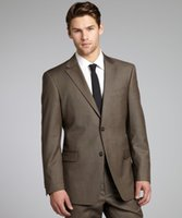 Wholesale Brown Sharkskin Men Suit Custom Made Grey Two Toned Woven Wedding Suits For Men Bespoke Vintage Tuxedo Gray Wedding Tuxedo