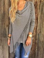 Wholesale New Hot Women s Fringe Cardigan Tassel Decorated Asymmetric Hem Grey T Shirt