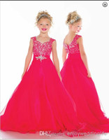 Ball Gown girls pageant dresses size 6 - Hot Sale Fuchsia Little Girl s Pageant Dress Organza with Beaded A Line Flower Girl Dress Custom Size