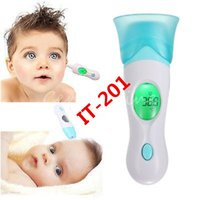 Wholesale IT In Multi function Digital LCD Adult Baby Forehead Ear Ambient Clock IR Infrared Thermometer Temperature with Battery