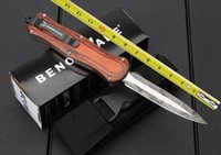 Cheap BM A019 Red Wooden Abalone Shell Handle D2 59HRC Black Blade Camping Tool knife Pocket knife Tactical knife survival knife knives