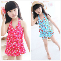 layer cake - Hot Sale Baby Girl Swimwear Child Two Piece Strawberry Flounced Cake Layer Swimsuit Kids Tankini Bikini S29