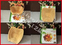 Beverage bamboo basket - Bamboo Folding Fruit Veg Basket Foldable Fruit Veg Bowl Basket Apple Design