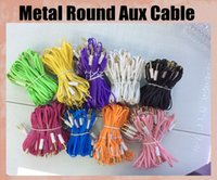 Cheap Metal plug AUX audio cable round 1m 3.5mm audio cord silicon lead fit for Blackberry samsung car colorful CAB033