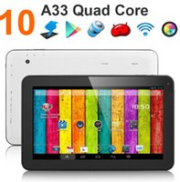 Wholesale 10 inch A33 Quad Core Tablet PC Android Kitkat with Dual Camera WiFi OTG Bluetooth HD Tablet Allwinner A33 G GB GHz MID