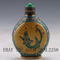 art cloisonne painting - China Filigree Cloisonne Hand painted Bragon And Beads Snuff Bottles b16