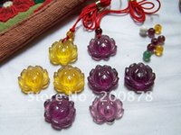 amethyst and citrine - Tibet Jewelry TBP362 Crystal glass Lotus charms mm Amethyst and Citrine amulets pendants mix order