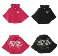black hooded cloak - Hysteric Mini Nipple Baby Winter Baby Girls Boys Coats Hooded Poncho Warm Cloak Fur Childs Children Outwear Clothes Black Rose Red K2609