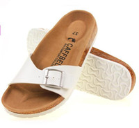 Wholesale Size Summer style Fashion Women men Casual Cork Slippers Lovers Beach Sandals For Shoes Male Female Flip flops Black brown
