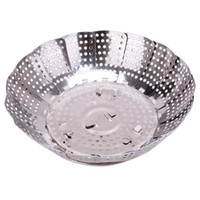 Wholesale Stainless steel multifunctional steamer plate silver magic retractable folding steaming fruit plate disk bz679584