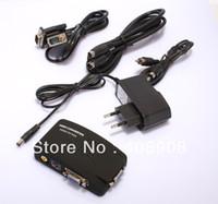 Bnc vidéo vga Prix-Vente en gros - TV BNC Composite S-video VGA In pour PC VGA LCD Out Converter Adapter Box Noir Livraison gratuite