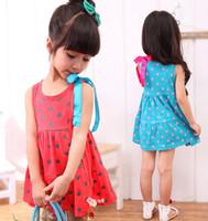 baby blue ribbon - New Summer Sleeveless Dots Bowknot Silk Ribbon Children Girls Dresses Cute Baby Tutu Dressy Child Skirts Cotton Clothes Red Blue L1503