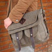 achat en gros de gros sac kaki-Vente en gros-noir kaki et café hommes sacs de voyage sac messager hommes en sac à main d'épaule sac à main de haute qualité occasionnels expédition gratuite