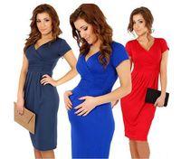 maternity clothes - Summer Europe Pregnant Women Dresses Maternity Clothing Ladies Sexy V Neck Short Sleeve Elastic Dress Big Girls Dressy EMS DHL H3261