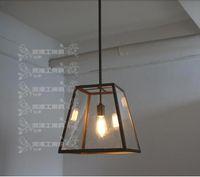 Cheap RH Loft American Village Square Restaurant industrial wind single Pendant lamp chandelier glass box