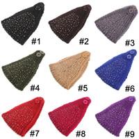 Wholesale 3pcs Fashion Women Knit Crochet Headband Button Headwraps Crochet Flower Winter Ear Warm Hair Bands