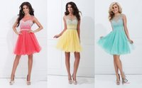 Wholesale Cheap Crew Portrait Crystals Beaded Custome Made Homecoming Short Dresses Red Yellow Blue Evenning Tulle Plus Size Sexy Party Dresses