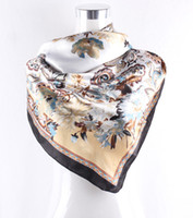 Cheap Women Scarf 2014 Paisley scarf satin large square scarf 90 * 90 cm Flower Floral silk scarf ZS55
