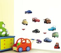 adhesive vinyls - Children Cartoon Wall Decals Pixar Cars Stickers Kids Room Vinyls Removable Decal for Walls Mural Nursery Art in stock