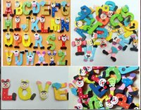 Wholesale Baby Kids Funky Fun Colorful Magnetic Letters A Z Wooden Fridge Magnets letters Kid toys Education Fedex UPS DHL ship