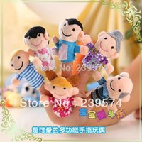 Cheap Free Shipping 6 pcs lot, Baby Plush Toy Finger Puppets Tell Story Props(A Family) Kids Toys Children Gift